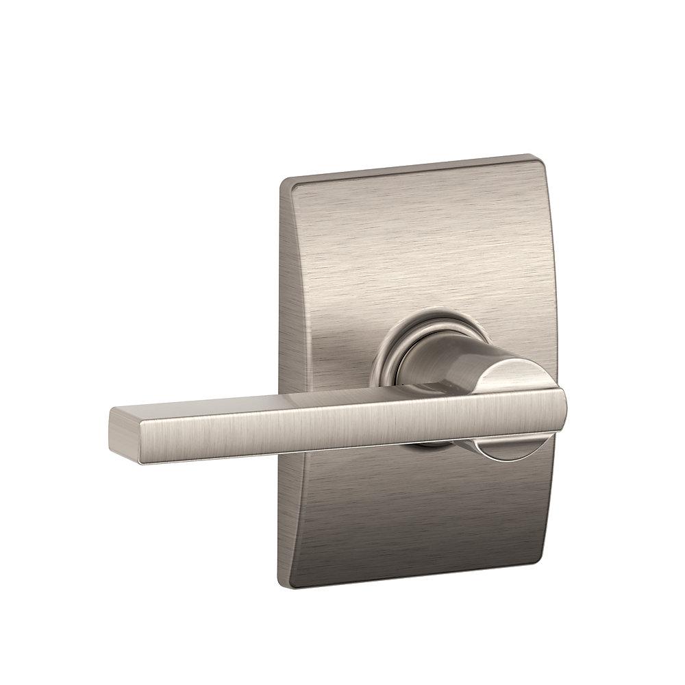 Levier de porte de passage / porte de placard Latitude en nickel satiné à garniture Century