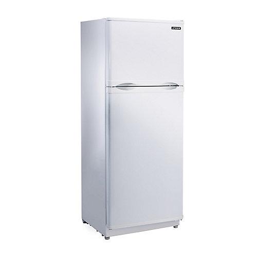 Réfrigérateur blanc de 10,3 pieds cubes avec congélateur au haut fonctionnant à l'énergie solaire