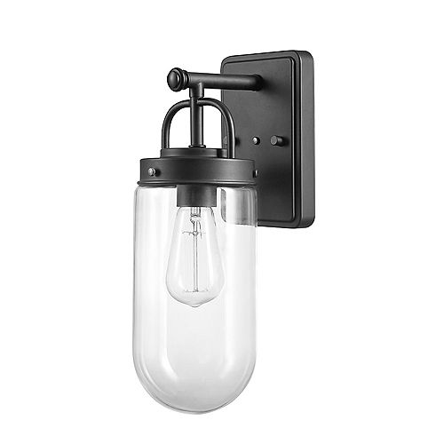 Globe Electric Boyd 1-Light Black Outdoor/Indoor Wall Sconce with Clear Glass Shade
