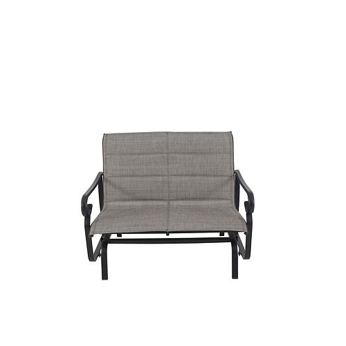 Hampton Bay Crestridge Sling Padded Patio Glider Chair with Grey Seatpad