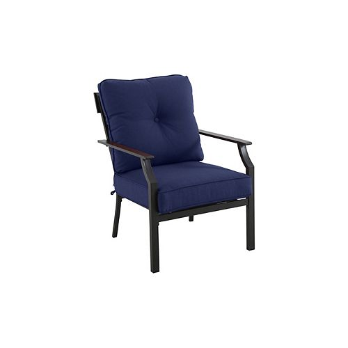 Hampton Bay Coopersmith Steel Patio Club Chair in Navy (Set of 2)