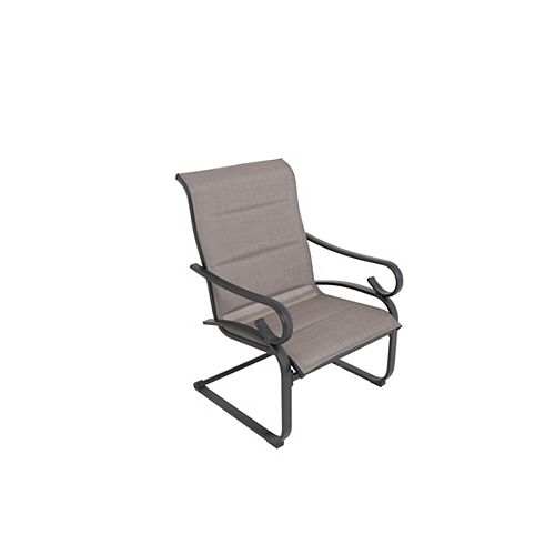 Hampton Bay Crestridge Steel Sling Padded Spring Patio Lounge Chair in Putty Taupe (Set of 2)