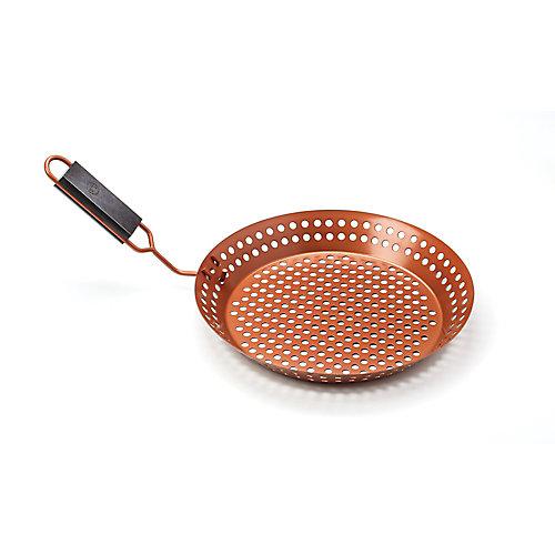 Poêle à griller avec poignée amovible à prise souple, antiadhésive en cuivre