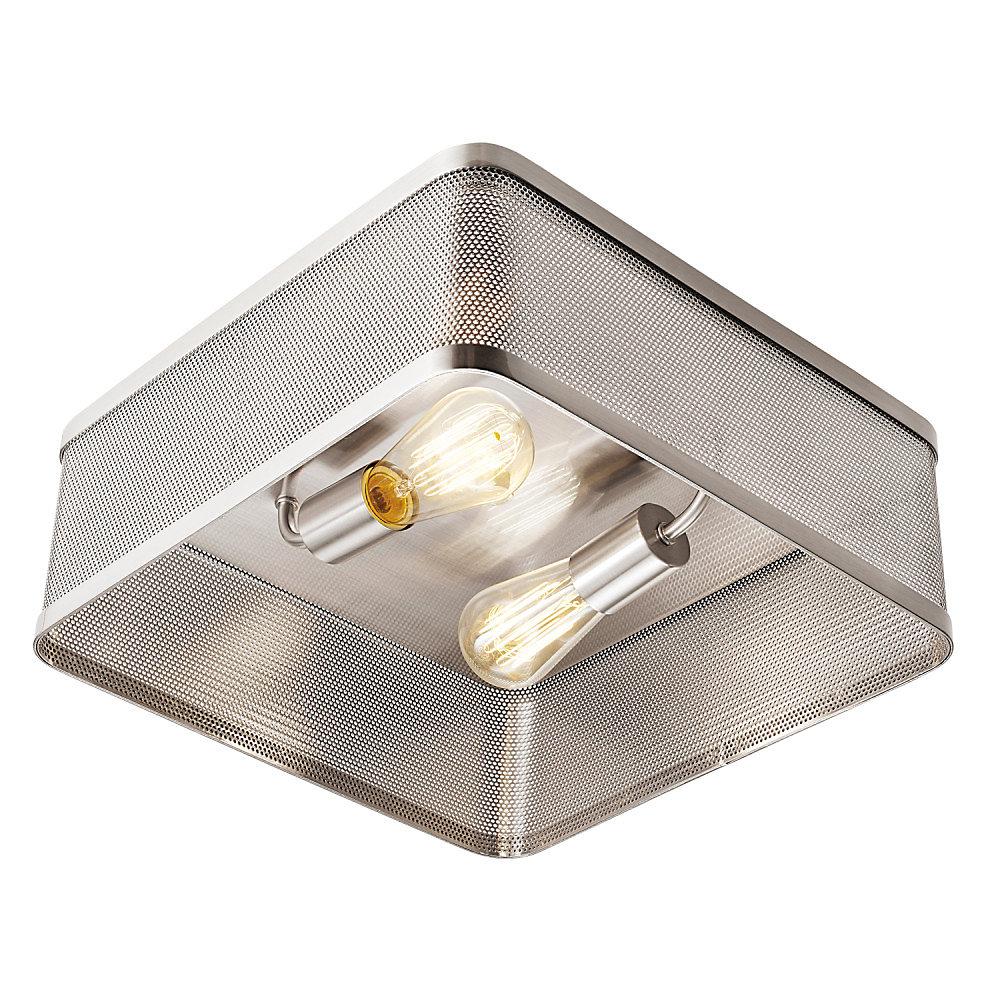 Plafonnier encastré de collection Gayton à 2 lumières en nickel brossé avec abat-jour perforé