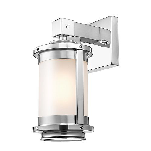 Globe Electric Blair 1-Light Brushed Steel Wall Sconce with Frosted Glass Shade