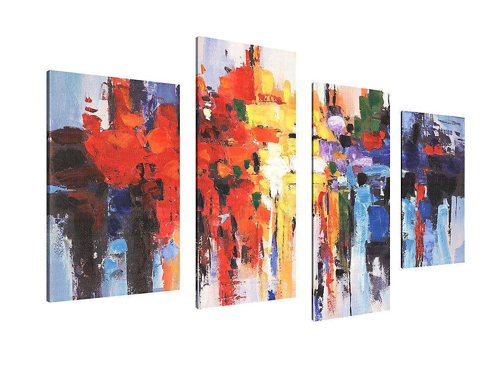 Canada de la Maison de l'art, abstrait couleur souffle Art mur de toile impression Décoration pour la maison et de bureau Jeu de 4