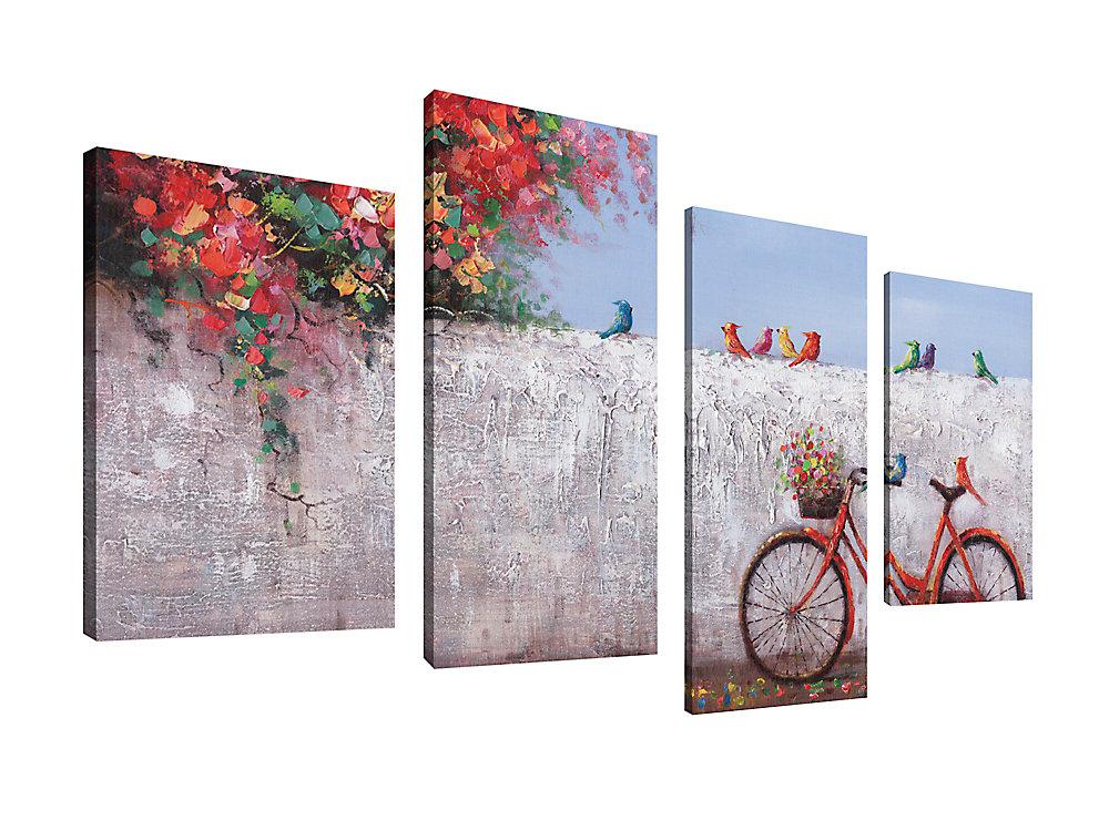 Maison d'art Canada, paysage - paysage urbain été Ride impression toile Wall Art Jeu de 4