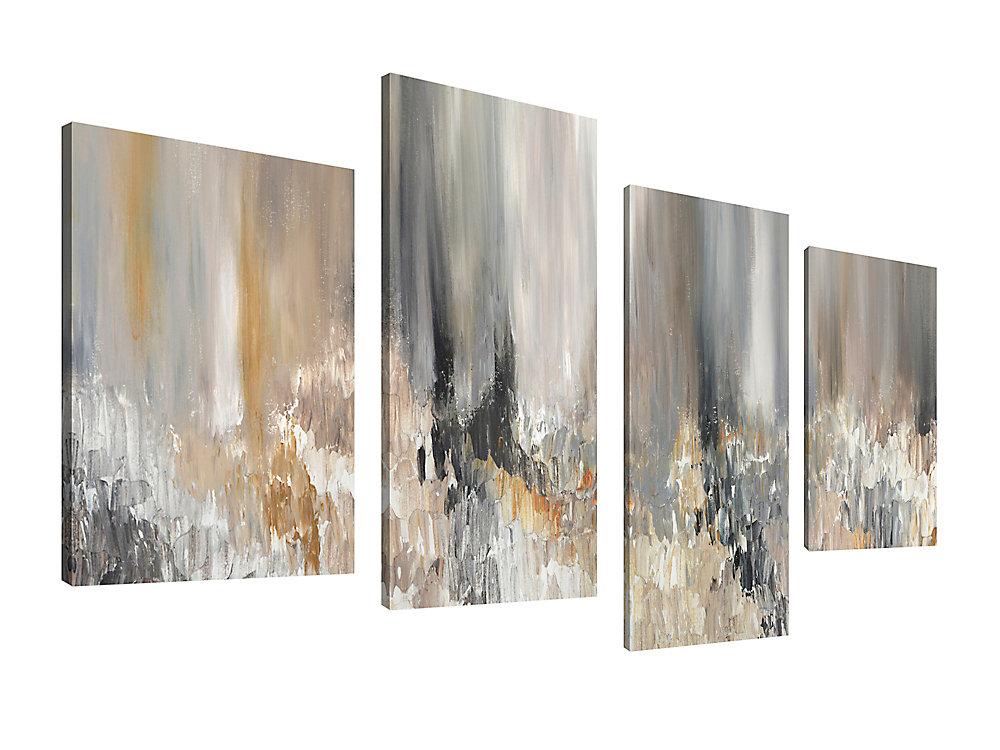 Canada de la Maison de l'art, abstrait gris lunettes Giclee Print Art mur de toile Jeu de 4