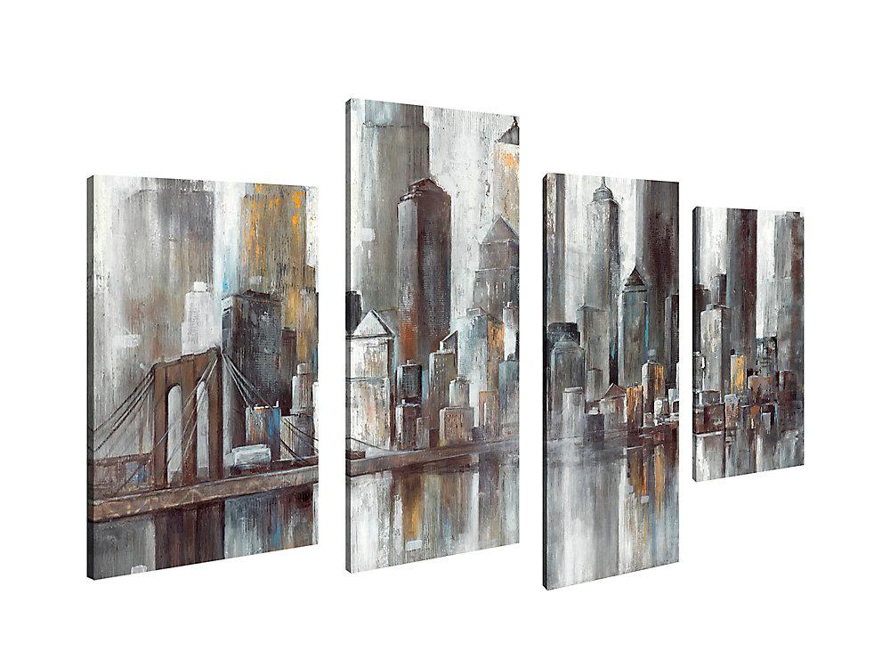 La Maison de l'art Canada, ville Cityscape cardiaques Giclee Print Art mur de toile Jeu de 4