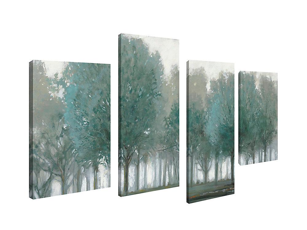 art Maison Canada, paysage vert Land giclée Print Art mur de toile Jeu de 4