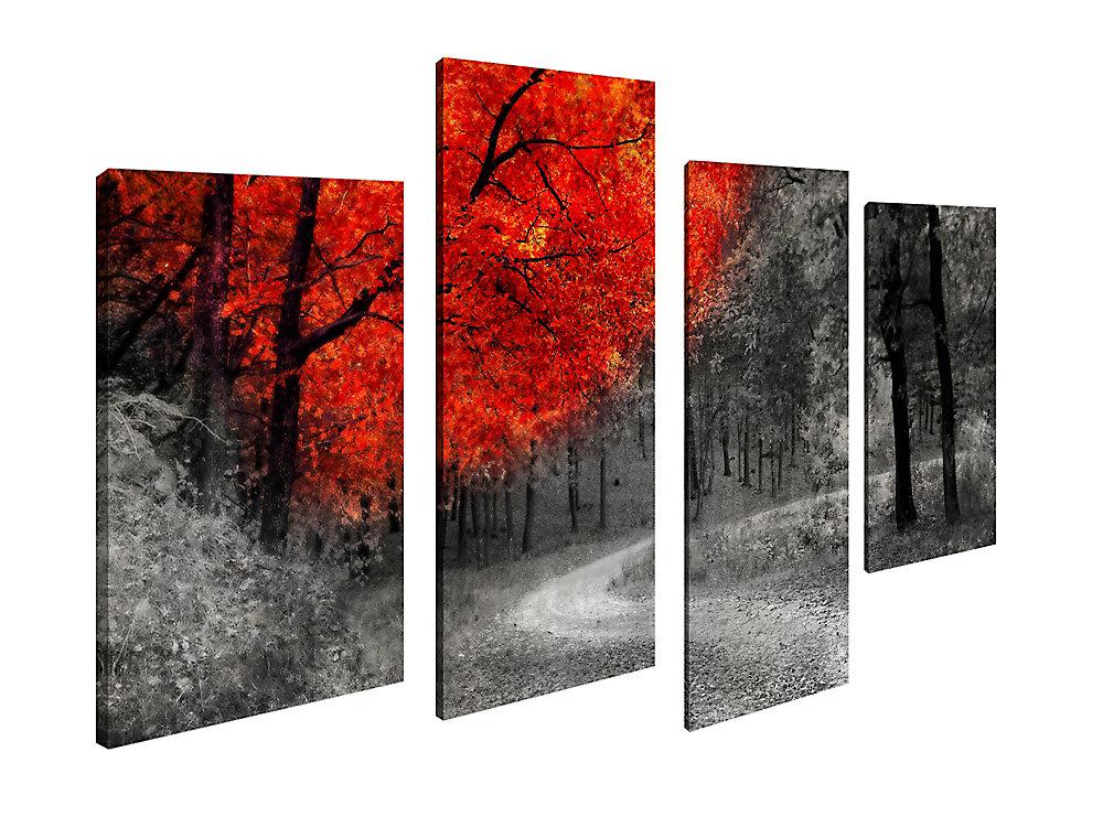 Maison d'art Canada, photographie de paysage photographie automne chemin toile impression sticker Jeu de 4