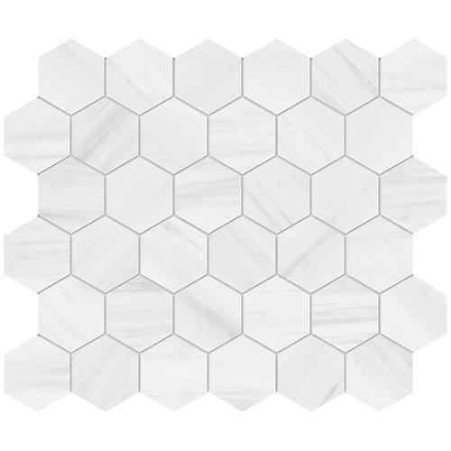 Mosaïques hexagonales en porcelaine Dolomite Bianco de 2 po