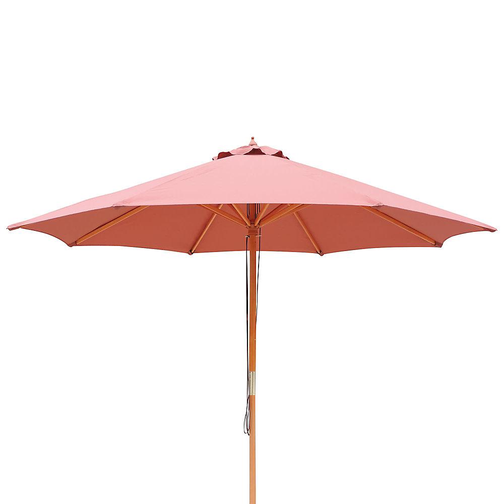 Tranquilité 9 pi - parasol de marché en bois massif avec toile oléfine terra cotta