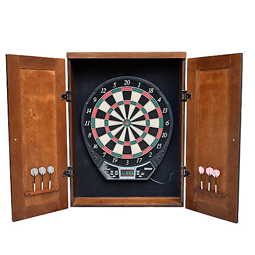 Brookline Electronic Dartboard Cabinet Set - Walnut