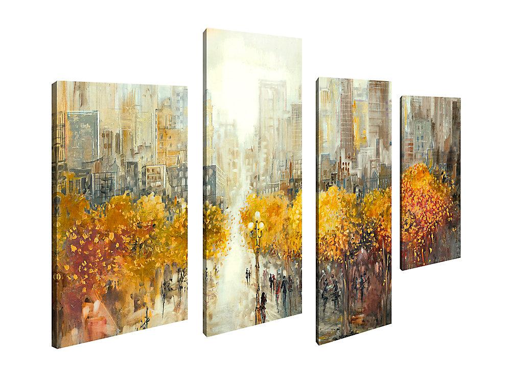 Maison d'art Canada, vue sur la ville d'automne paysage-paysage urbain photographie Art mur de toile Jeu de 4