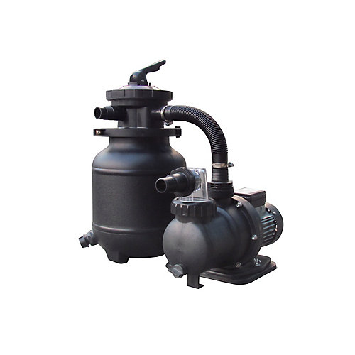 Système de filtre à sable de 10 po, 25 lb. pour les piscines hors terre - 1/3CV, 1850GPH
