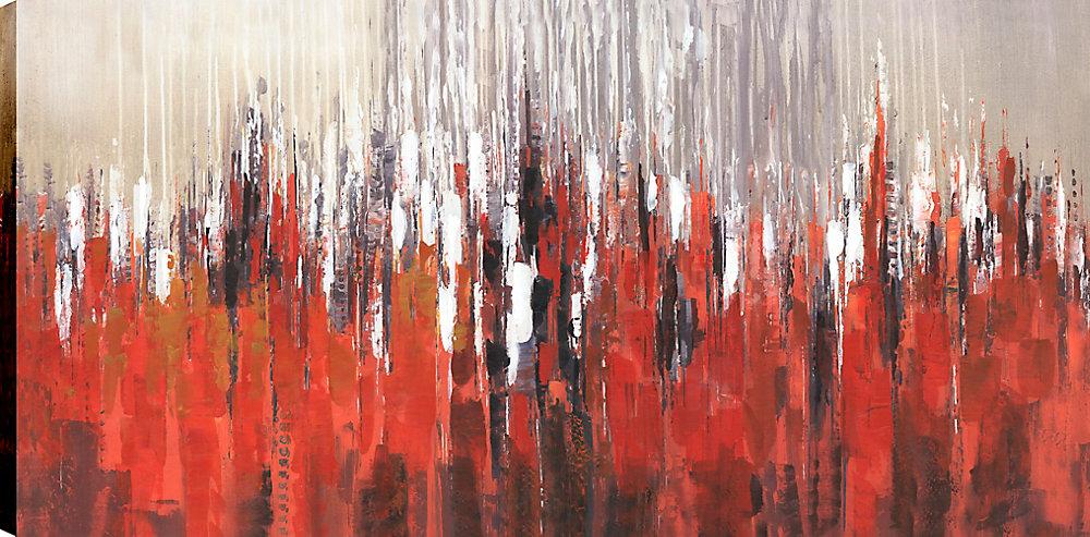 Abstrait rouge j'ai, Art abstrait, Art mur de toile imprimé 24 X 48 prêts à accrocher par ArtMaison.ca