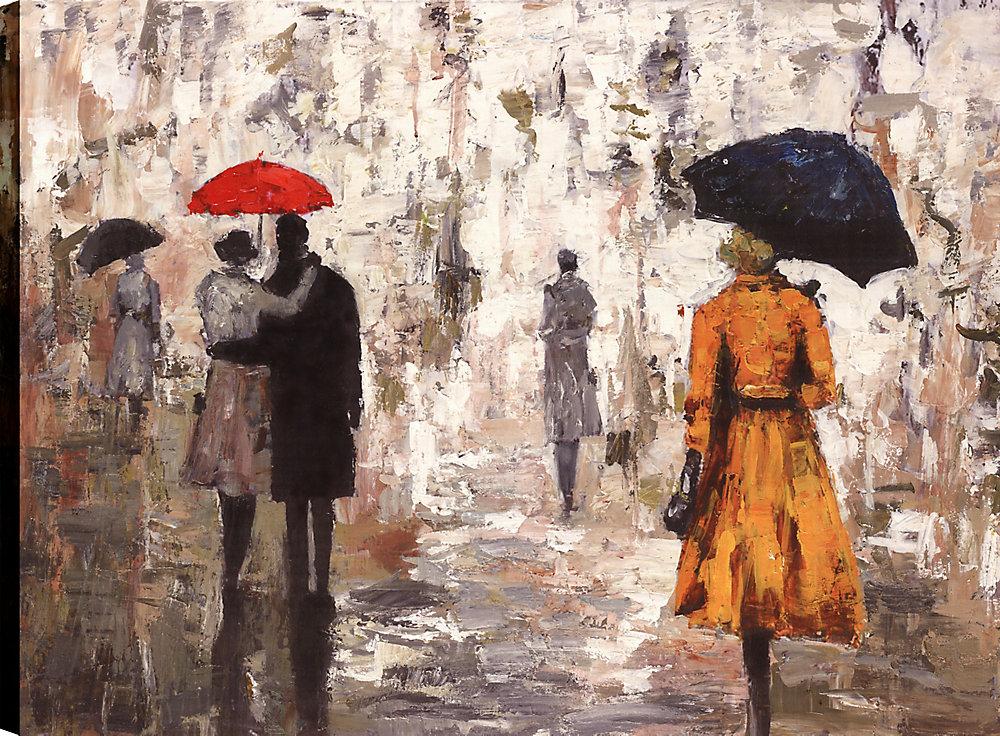 Jour de pluie parapluie I, Art figuratif, Art mur de toile impression 30 X 40 prêts à accrocher par ArtMaison.ca