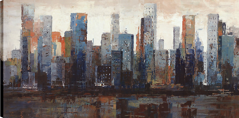 Vue de bâtiments de la ville, Art du paysage, Art mur de toile imprimé 24 X 48 prêt à accrocher par ArtMaison.ca