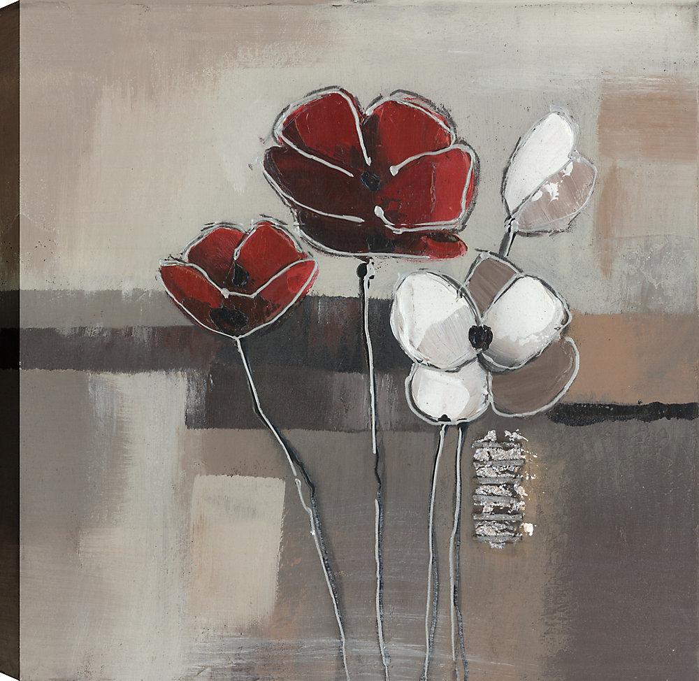 Rouge et blanc pavot Floral III, Art Floral, Art mur de toile imprimé 24 X 24 prêt à accrocher par ArtMaison.ca