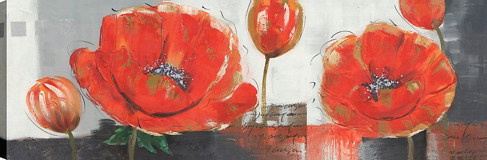 Red et Blue Poppy Floral III, Art Floral, Art mur de toile impression 20 X 60 prêt à accrocher par ArtMaison.ca
