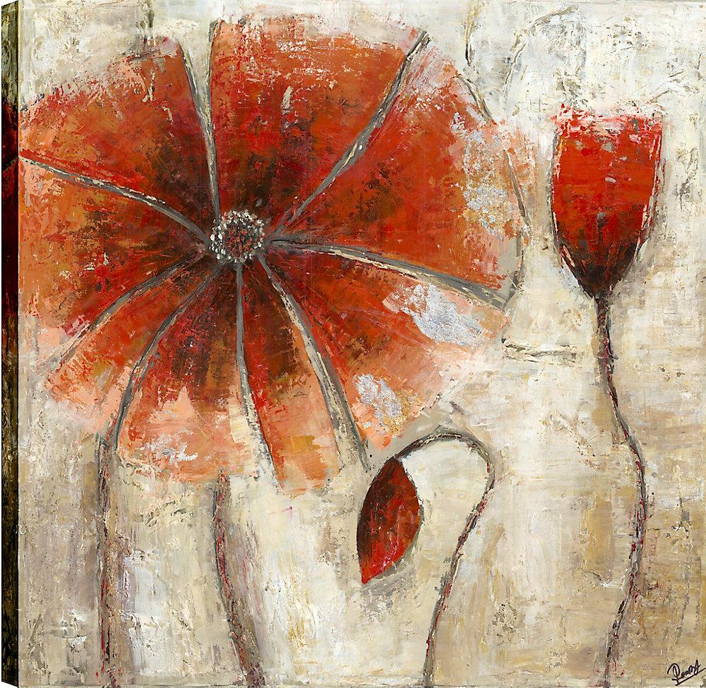 Orange pavot beauté III, Art Floral, Art mur de toile imprimé 24 X 24 prêt à accrocher par ArtMaison.ca