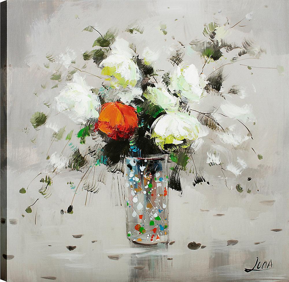 Flower Pots coloré Orange, Art Floral, Art mur de toile imprimé 24 X 24 prêt à accrocher par ArtMaison.ca