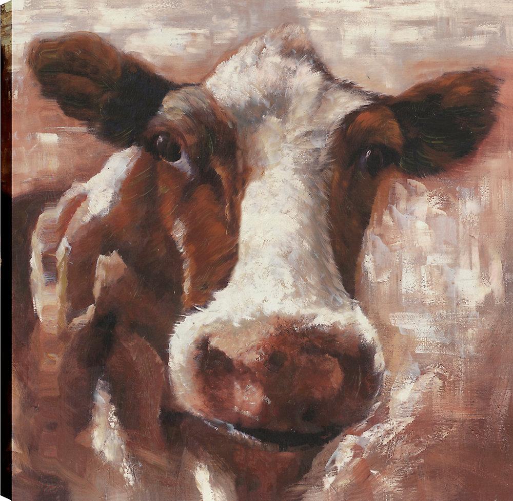 L'orignal Brown, Animal Art, Art mur de toile imprimé 36 X 36 prêt à accrocher par ArtMaison.ca