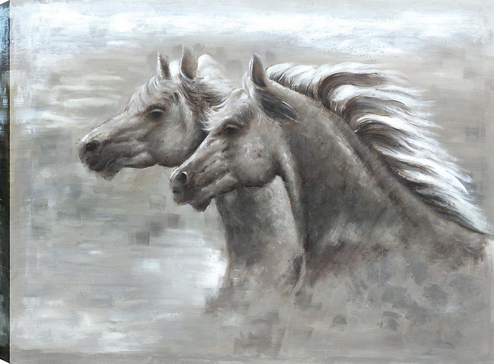 Amour de cheval, Animal Art, Art mur de toile impression 30 X 40 prêts à accrocher par ArtMaison.ca