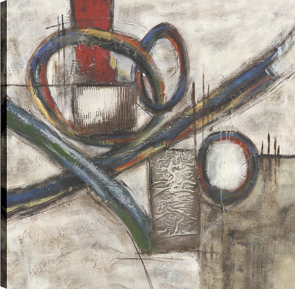Lignes de résumé tout le chemin, Art abstrait, Art mur de toile imprimé 36 X 36 prêt à accrocher par ArtMaison.ca