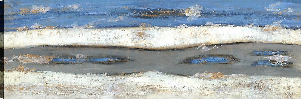 Abstrait bleu II complètement, Art abstrait, Art mur de toile impression 20 X 60 prêt à accrocher par ArtMaison.ca