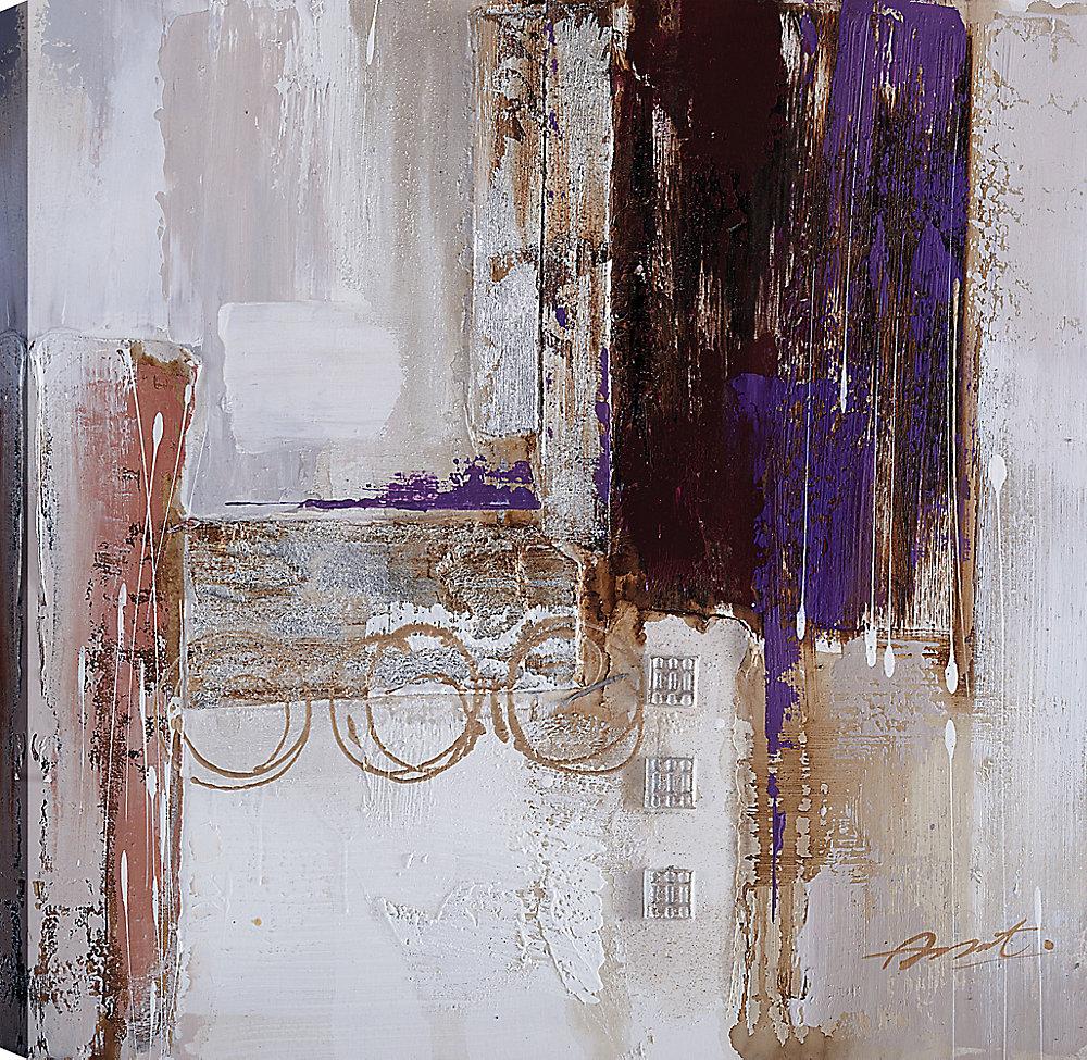 IV violet abstrait, Art abstrait, Art mur de toile imprimé 24 X 24 prêt à accrocher par ArtMaison.ca