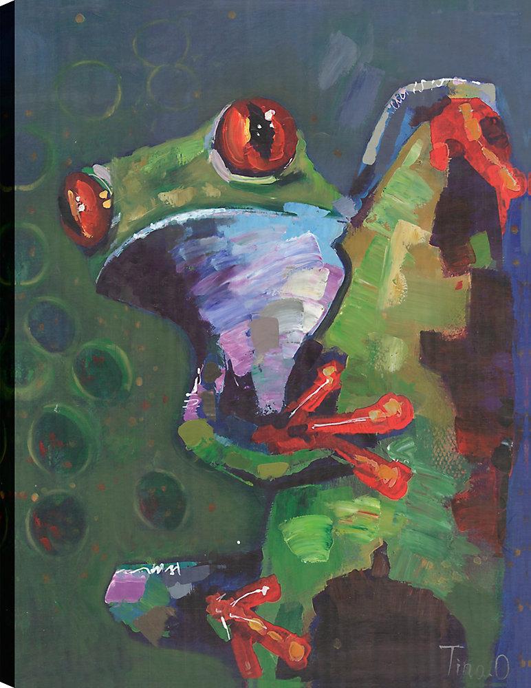 Grenouille verte, Animal Art, Art mur de toile impression 40 X 30 prêt à accrocher par ArtMaison.ca