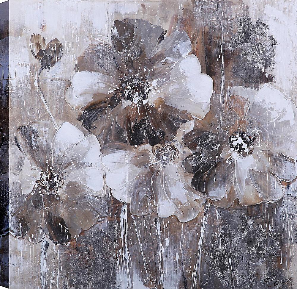 Noir et blanc fleur amour en fleurs II, Art Floral, Art mur de toile imprimé 24 X 24 prêt à accrocher par ArtMaison.ca