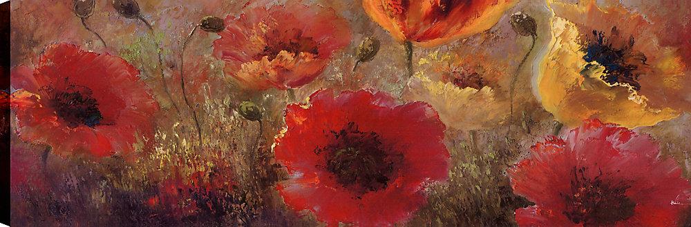 Bouquet de fleurs rouges et jaunes I, Art floral, Art mural sur toile 20X60 prêt à accrocher par ArtMaison.ca