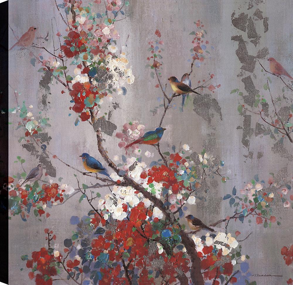 Happy des oiseaux sur l'Art arbre II, Animal Art, toile impression murale 36 X 36 prêt à accrocher par ArtMaison.ca