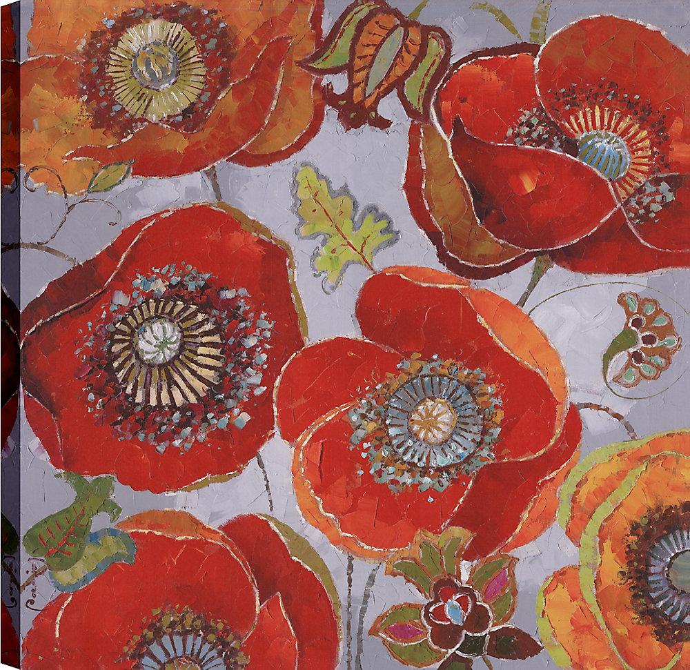 Rouge coquelicot bouquet de fleurs II, Art Floral, Art de mur d'impression toile 36 X 36 prêt à accrocher par ArtMaison.ca