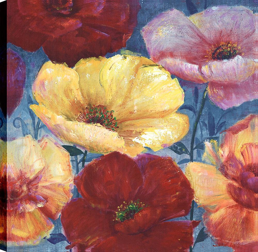 Décorer avec ces Poppoes coloré, l'Art Floral, l'Art mur de toile imprimé 24 X 24 prêt à accrocher par ArtMaison.ca