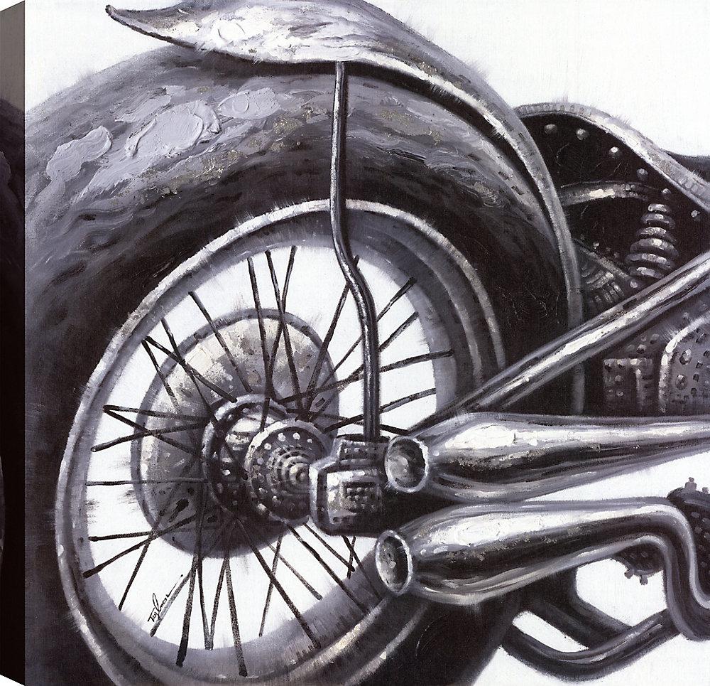 Bike Ride gris j'ai, Art abstrait, Art mur de toile imprimé 24 X 24 prêt à accrocher par ArtMaison.ca