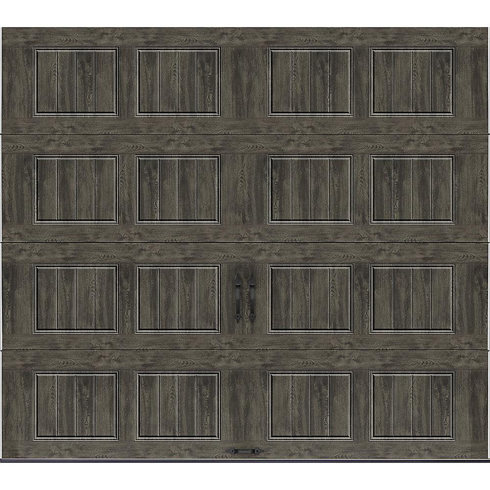 Collection Gallery 9 pi x 8 pi Porte de garage Valeur «R» 18.4 isolant Intellicore Solide Ultra-Grain gris ardoise
