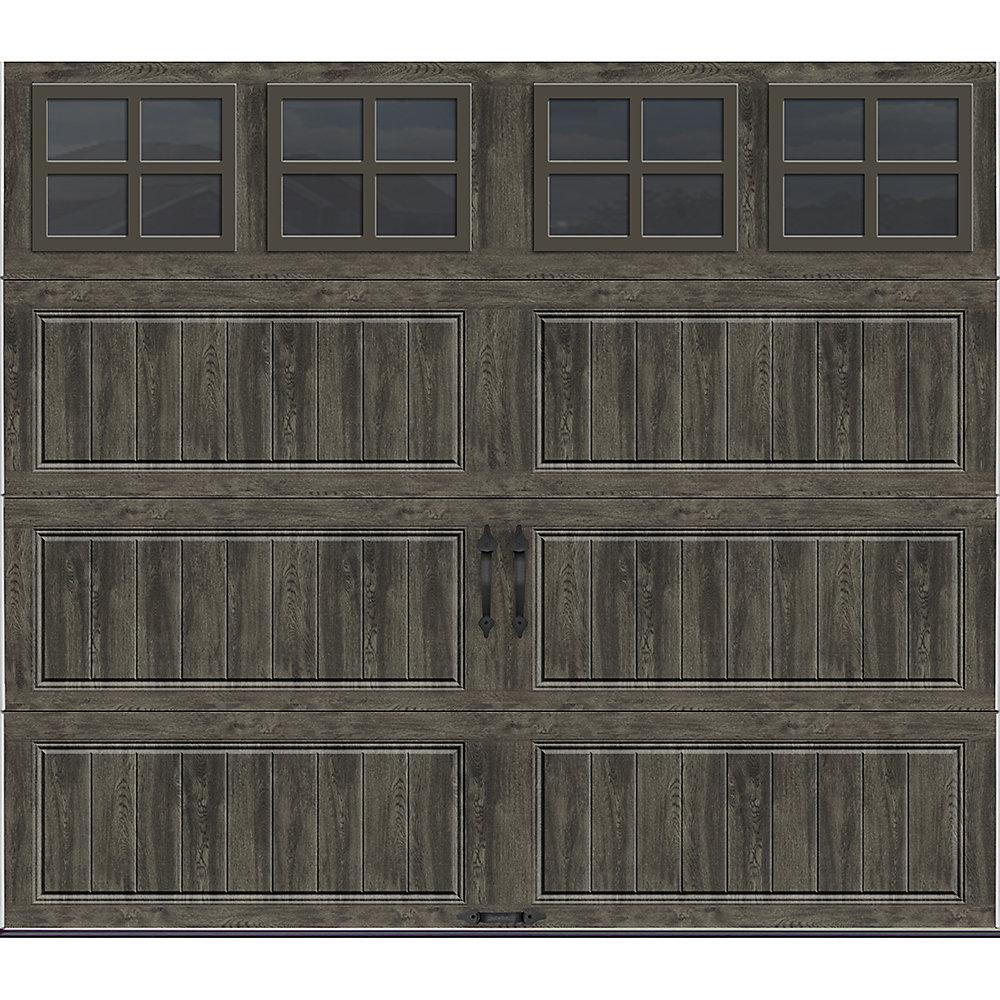 Porte de garage collection Gallery 8 pi x 7 pi Valeur «R» 18.4 isolée Intellicore gris ardoise avec fenêtres SQ22