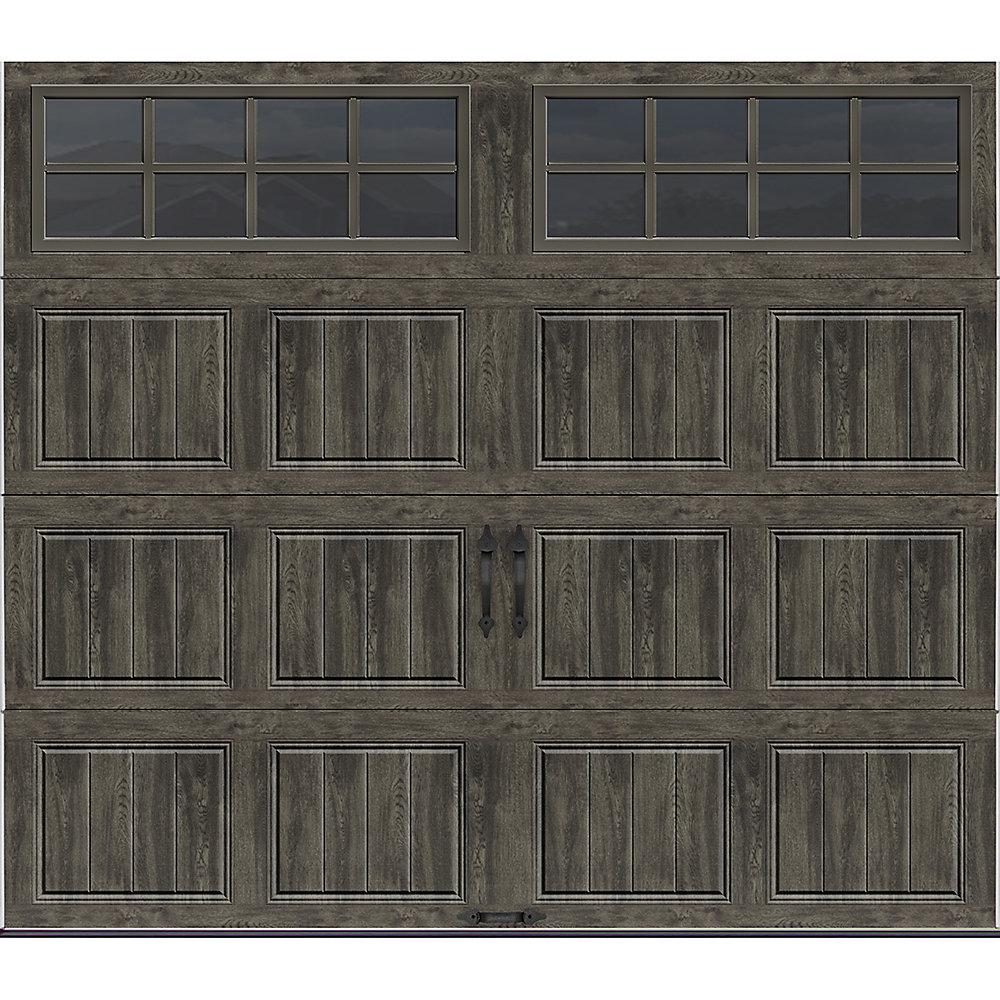 Porte de garage collection Gallery 16 pi x 7 pi Valeur «R» 18.4 isolée Intellicore gris ardoise avec fenêtres SQ24