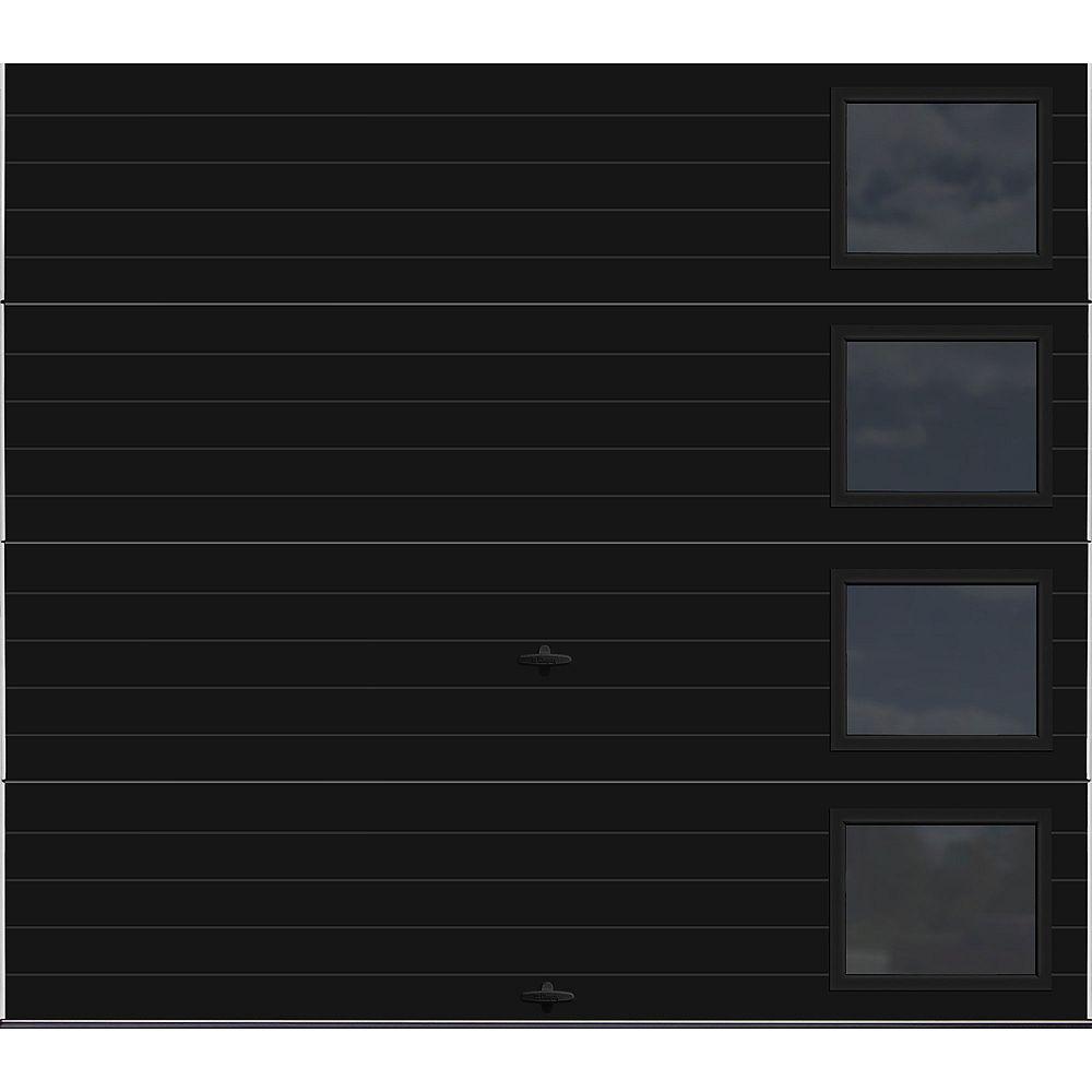Clopay Collection Griffontown 9 pi x 7 pi Porte de garage Valeur «R» 9.0 Noire avec fenêtres Contemporain