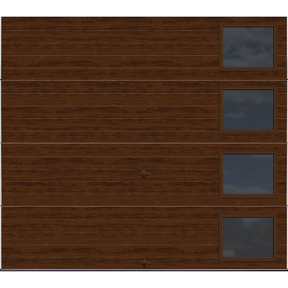 Modern Steel Collection 8 ft. x 7 ft. 18.4 R-Value Insulated Walnut with Contemporary Windows Garage Door