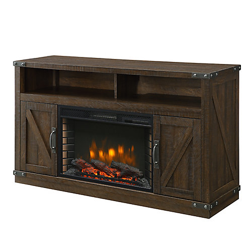 Aberfoyle 53 inch Media Electric Fireplace-Rustic Brown Finish