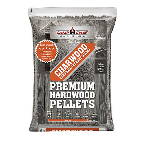 Camp Chef 3 Bags of Charwood Charcoal Hickory Blend Pellets (20 lbs./each bag)