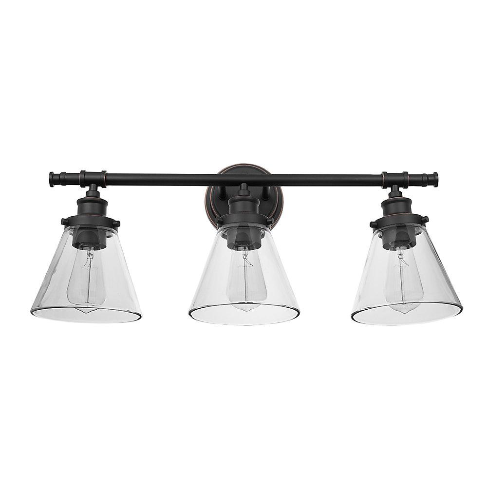 Vanité de collection Parker à 3 lumières en bronze huilé avec abat-jours en verre transparent