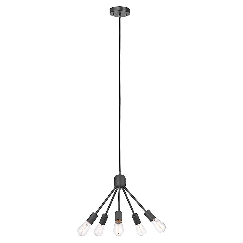 Chandelier de collection Shae à 5 lumières en noir mat avec cordon électrique tissé noir