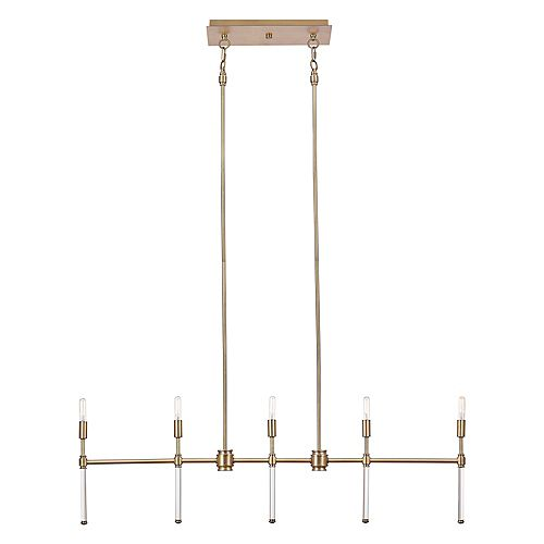 Globe Electric Delaney 5-Light Brass Chandelier with Crystal Detail