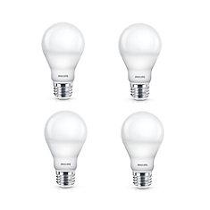 Ampoule à DEL A19 à intensité variable, 60W, lumière du jour, paquet de 4